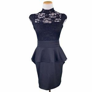 Windsor Black Open Back Lace Top Peplum Mini Dress